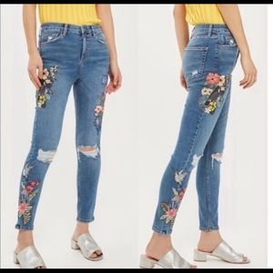 TopShop Embroidered MOTO Jamie Jeans, Size 30